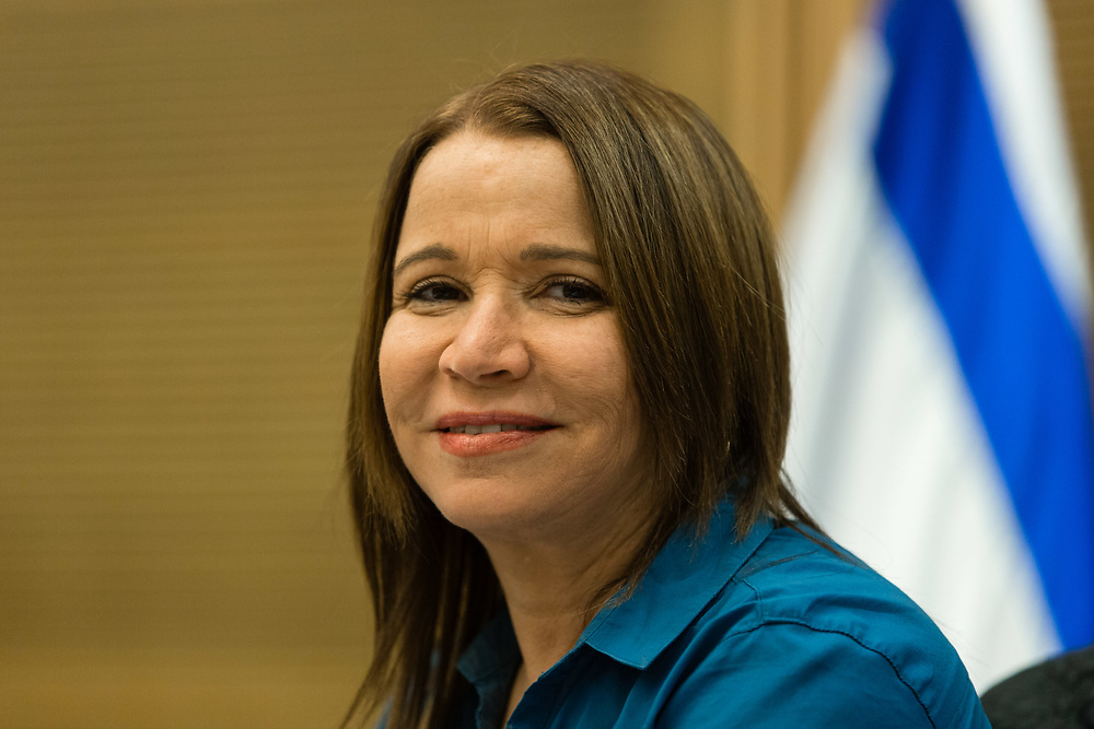 Israeli lawmaker Shelly Yacimovich is seen during a session of the Economic Affairs Committee at the Knesset, Israel's Parliament in Jerusalem, on November 25, 2015.