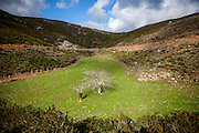 Landscape on the mountain road to The Church of Agio Pnevma - south of Strovles on the Greek island of Crete.