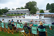 Henley-On-Thames, Berkshire, UK., Thursday, 12.08.21,  Heat of the, Wyfold Challenge Cup, Northwich Rowing Club, move through the Stewards Enclosure and the progress Boa,t on their way to a win over, Deutscher Ruder Club Hannover von 1884, Germany, 2021 Henley Royal Regatta, River Thames, Henley Reach, Thames Valley, [Mandatory Credit © Peter Spurrier/Intersport Images],