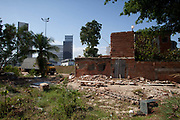 The house of Augusto Pereira, one of the last standing of the original homes, is demolished today. Vila Autodromo favela, in the west zone of Rio, is in direct site of the Rio 2016 Olympic park. There has been an ongoing struggle between residents and the City Government of Eduardo Paes. After a long battle, 20 families who held on were allowed to stay, on the provision that they moved into houses constructed by the state, in the same style as the public housing programme.