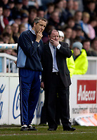 Photo: Jed Wee.<br />Hartlepool United v Bristol City. Coca Cola League 1. 15/04/2006.<br /><br />Bristol City manager Gary Johnson (R) and assistant Keith Millen deep in thought.