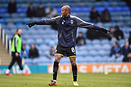 Jimmy Abdou (8) of AFC Wimbledon warming up before the EFL Sky Bet League 1 match between Portsmouth and AFC Wimbledon at Fratton Park, Portsmouth, England on 26 December 2017. Photo by Graham Hunt.