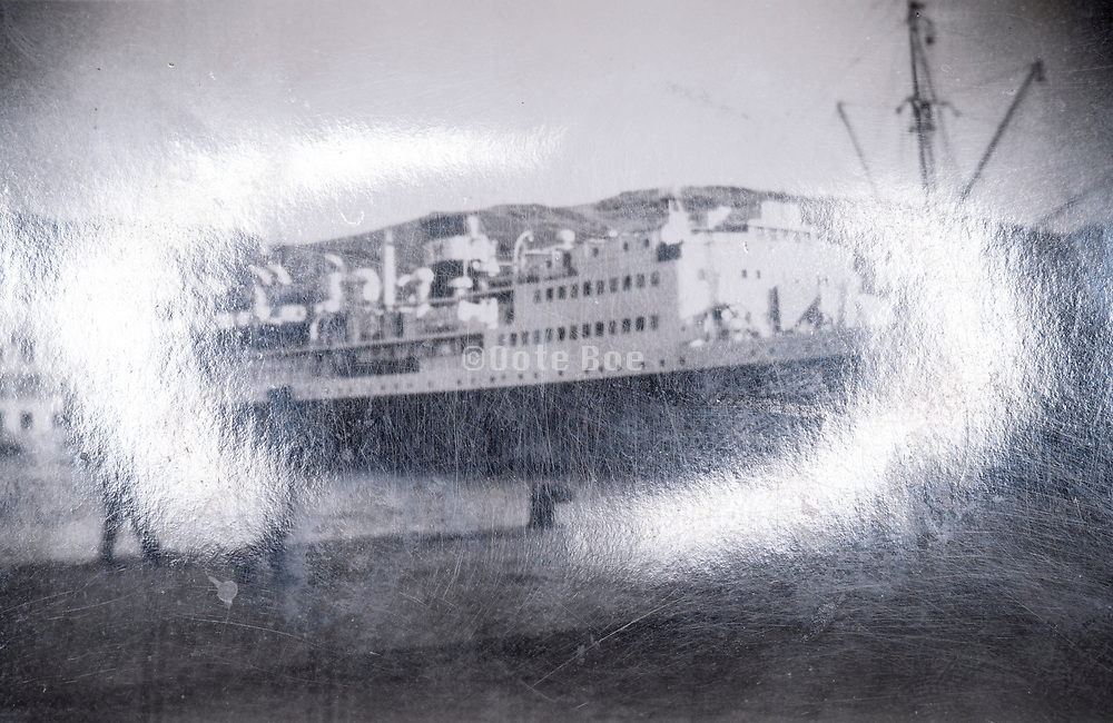 large transatlantic passengers ship in the harbor France ca 1930s