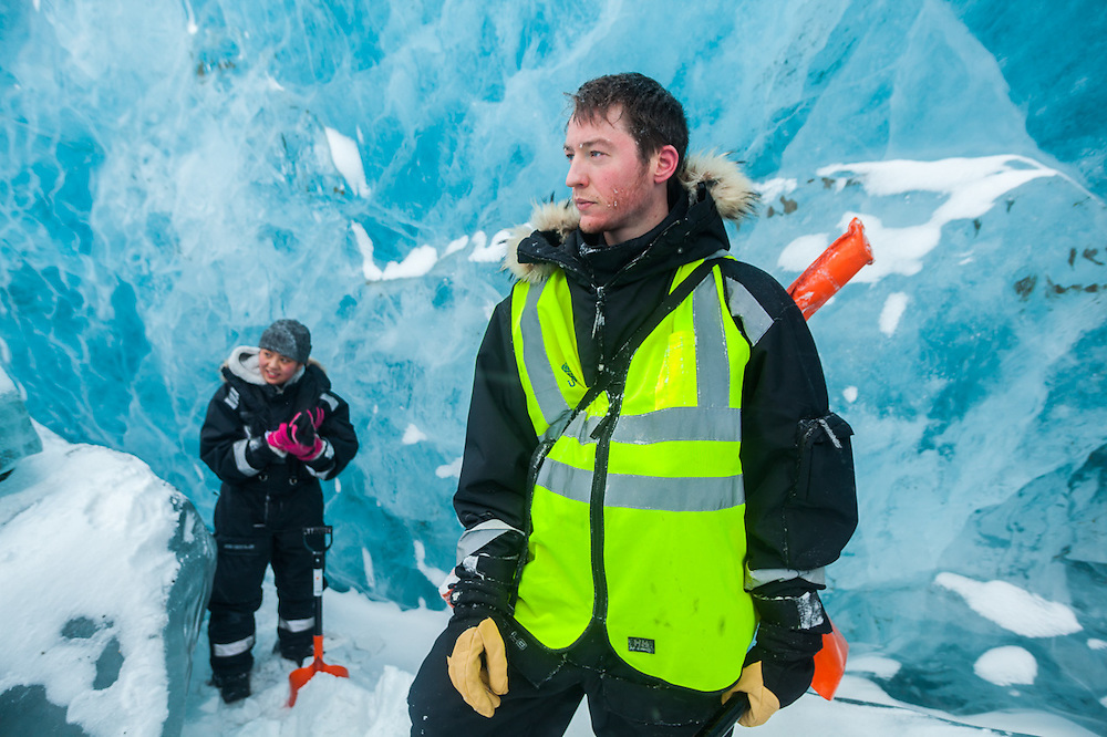UNIS students Stephen Jennings (front) and Mei Gong explore the broken surface of Rabotbreen, Svalbard on a class field trip.