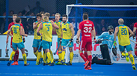 BHUBANESWAR, INDIA - team Australia after a goal.   , England v Australia for the bronze medal during the Odisha World Cup Hockey for men  in the Kalinga Stadion.   COPYRIGHT KOEN SUYK