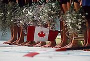 Barcelona,  SPAIN, CAN W8+. [Feet] Kirsten BARNES, Shannon CRAWFORD, Megan DELEHANTY, Kathleen HEDDLE, Marnie McBEAN, Jessica Jessie MONROE, Brenda TAYLOR, Kay WORTHINGTON, Lesley THOMPSON - WILLIE (c) 1992 Olympic Regatta. Lake Banyoles, Nr Barcelona SPAIN. Mandatory Credit: © Peter Spurrier/Intersport Images]
