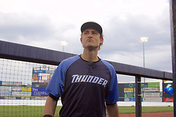 June 17, 2017 - Trenton, New Jersey, U.S - With the start of the doubleheader between the Trenton Thunder and the Erie SeaWolves at ARM & HAMMER Park in what turned out to be a one-hour rain delay, Thunder outfielder ZACH ZEHNER goes into the dugout without his teammates to scan the skies and check the weather. His professional assessment? ''We'll play.'' He was right. (Credit Image: © Staton Rabin via ZUMA Wire)