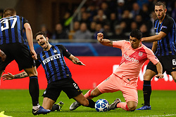 November 7, 2018 - Milan, Italy - Sime Vrsaljko (L) of Inter Milan and Luis Suarez of Barcelona vie for the ball during the Group B match of the UEFA Champions League between FC Internazionale and FC Barcelona on November 6, 2018 at San Siro Stadium in Milan, Italy. (Credit Image: © Mike Kireev/NurPhoto via ZUMA Press)