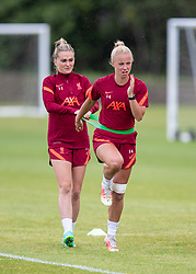 WALLASEY, ENGLAND - Wednesday, July 28, 2021: Liverpool's Ashley Hodson (R) and Melissa Lawley (L) during a training session at The Campus as the team prepare for the start of the new 2021/22 season. (Pic by David Rawcliffe/Propaganda)