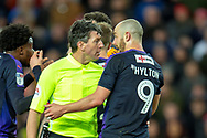 Referee Lee Probert speaks with Danny Hylton (#9) of Luton Town FC during the EFL Sky Bet League 1 match between Sunderland AFC and Luton Town at the Stadium Of Light, Sunderland, England on 12 January 2019.