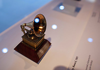 John Lennon's 1981 Grammy Award on display at The Rock and Roll Hall of Fame Annex in New York City..(Photo by Robert Caplin)..