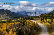 Highway 66 in autumn in Kananaskis Country, Alberta, Canada