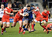 Sale Sharks wing Denny Solomona breaks through the Leicester Tigers defence during a Gallagher Premiership Rugby Union match Sale Sharks -V- Leicester Tigers, Sale won the match 36-3 on Friday, Feb. 21, 2020, in Eccles, United Kingdom. (Steve Flynn/Image of Sport via AP)