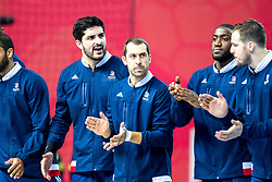 16.01.2018, Zatika Sport Centre, Porec, CRO, EHF EM, Herren, Frankreich vs Weissrussland, Gruppe B, im Bild v.l. Benjamin Afgour (FRA), Michael Guigou (FRA), Luc Abalo (FRA), Timothey N'Guessan (FRA), Kentin Mahe (FRA) // during the preliminary round, group B match of the EHF men' s Handball European Championship between France and Belarus at the Zatika Sport Centre in Porec, Croatia on 2018/01/16. EXPA Pictures © 2018, PhotoCredit: EXPA/ Sebastian Pucher