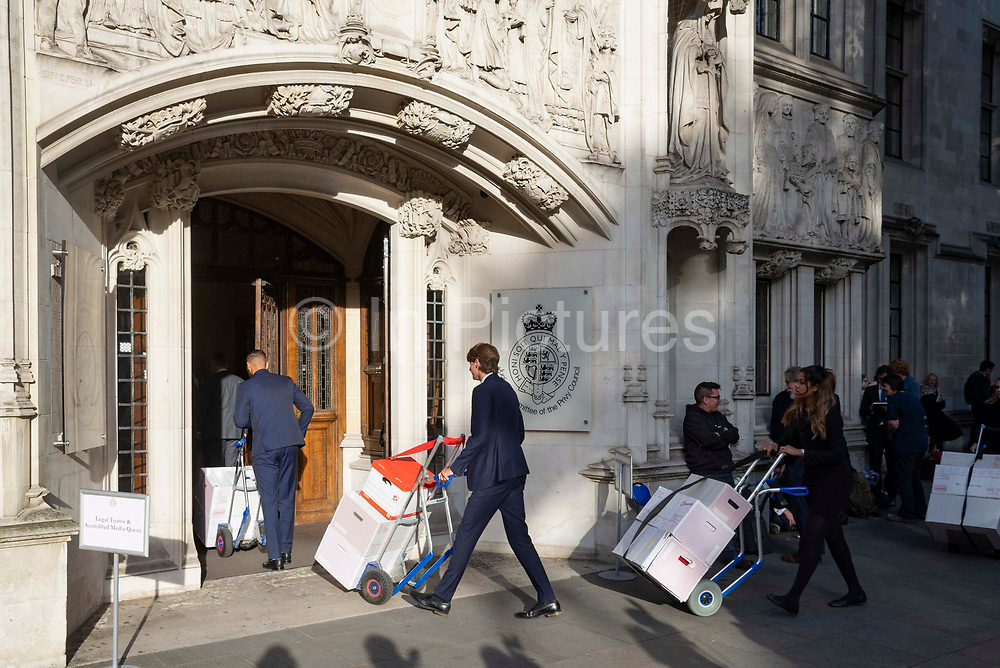 Legal documents being delieved to the Supreme Court on day three of the hearing to rule on the suspension of parliament. Supreme Court judges will decide if Prime Minister Boris Johnson acted unlawfully in advising the Queen to prorogue parliament, on September 19th 2019 in London, United Kingdom.