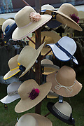 Women's hats for sale at the annual Suffolk Show 29th May 2019 in Ipswich in the United Kingdom. The Suffolk Show is an annual show that takes place in Trinity Park, Ipswich in the English county of Suffolk. It is organised by the Suffolk Agricultural Association.
