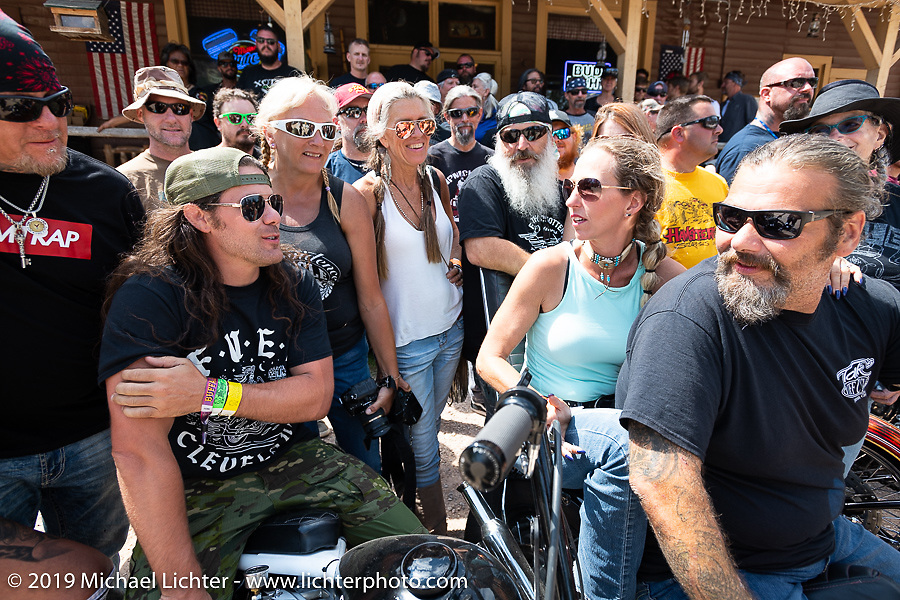 Group photo on the Sturgis Black Hills Motorcycle Rally. SD, USA. Wednesday, August 7, 2019. Photography ©2019 Michael Lichter.
