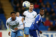 Junior Hoilett of Cardiff city (r) in action .EFL Skybet championship match, Cardiff city v Sheffield Wednesday at the Cardiff city stadium in Cardiff, South Wales on Wednesday 19th October 2016.<br /> pic by Andrew Orchard, Andrew Orchard sports photography.