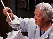 Madeleine Kamman measuring flour during cooking seminar at Winterlake Lodge, Alaska.  (Model Released)