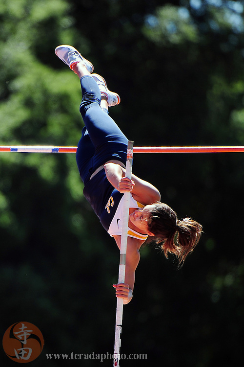 May 1, 2010; Stanford, CA, USA; California Golden Bears pole vaulter Allison Stokke competes in the women's pole vault during the Payton Jordan Invitational at Cobb Track and Angell Field. Mandatory Credit: Kyle Terada-Terada Photo