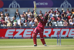 July 1, 2019 - Chester Le Street, County Durham, United Kingdom - West Indies' Chris Gayle hits out during the ICC Cricket World Cup 2019 match between Sri Lanka and West Indies at Emirates Riverside, Chester le Street on Monday 1st July 2019. (Credit Image: © Mi News/NurPhoto via ZUMA Press)
