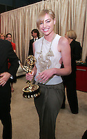 28 April 2006: Portia deRossi holds Ellen's trophy in the exclusive behind the scenes photos of celebrity television stars in the STAR greenroom at the 33rd Annual Daytime Emmy Awards at the Kodak Theatre at Hollywood and Highland, CA. Contact photographer for usage availability.