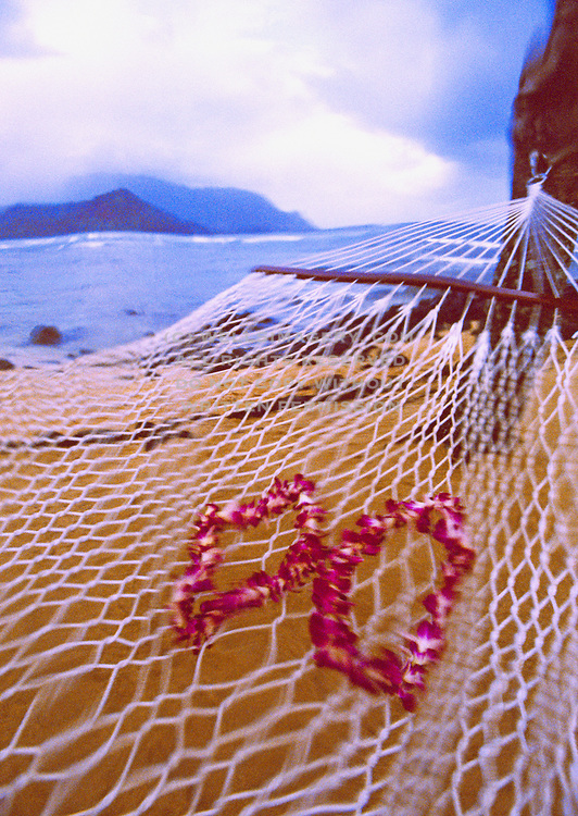 Image of Hawaiian leis on hammock overlooking Bali Hai on Kauai, Hawaii, Hawaiian Islands by Andrea Wells