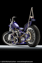"""The Redneck Puerto Rican"", a purple 1950 panhead built by Bill Dodge of Blings Cycles in Daytona Beach, FL. Photographed by Michael Lichter in Sturgis SD August 4, 2016 ©2016 Michael Lichter"