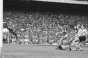 Dublin goalie falls in the goalmouth as Kerry score a goal during the All Ireland Senior Gaelic Football Championship Final Kerry v Dublin at Croke Park on the 22nd September 1985. Kerry 2-12 Dublin 2-08.