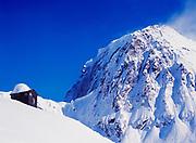 Outhouse with the most scenic view in Alaska, Ruth Amphitheater, Sheldon Cabin, Alaska Range, Denali National Park, Alaska.