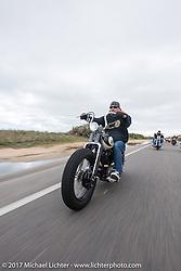 Bryan Lane of Waxhaw, NC riding his custom 1947 custom Harley-Davidson Knucklehead bobber along A1A near Flagler Beach during Daytona Beach Bike Week. FL. USA. Tuesday, March 14, 2017. Photography ©2017 Michael Lichter.