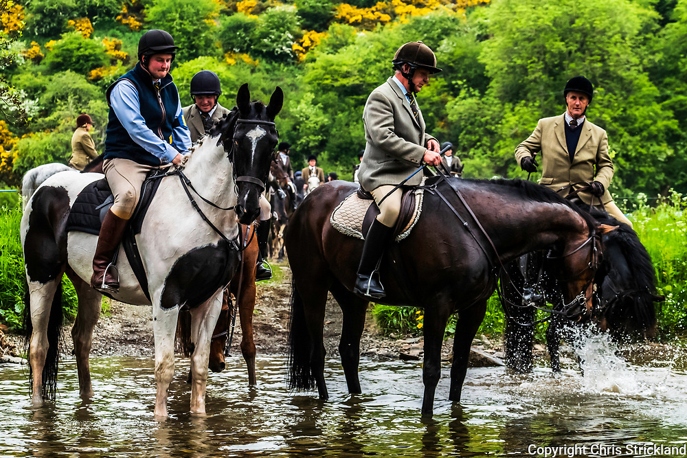 Hawick, Scottish Borders, UK. 29th May 2018. Riders and horses of the Borders town of Hawick ride out to Mosspaul on the Dumfries and Galloway March. The Mosspaul ride takes place twice, traditionally to allow those working the famous Hawick textile mills in shift patterns to take part. The Common Ridings celebrates the capture of an English Flag in 1514 by the youth of Hawick at a place called Hornshole and the ancient custom of riding the marches or boundaries of the common land.
