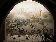 Battle on Charles Bridge in Prague in 1648, ending the Thirty Years' War.   Picture and installation created for the Prague exhibition of 1891.