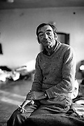 Portrait of a refugee from Bosnia at the Varazdin refugee camp in Croatia in the winter of 1992.