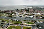 Nederland, Zeeland, Zeeuws-Vlaanderen, 23-10-2013; grote zeesluis Terneuzen. Zicht op de Westerschelde, stad en haven.<br /> Large sea lock Terneuzen. View on the Westerschelde, city and port.<br /> luchtfoto (toeslag op standaard tarieven);<br /> aerial photo (additional fee required);<br /> copyright foto/photo Siebe Swart.