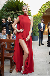 Toni Garn seen at Elie Saab Jr (Fashion designer Elie Saab's son) and Christina Mourad wedding, in Faqra, Lebanon on July 19, 2019. The wedding is among the most incredible weddings of 2019, included four wedding outfits, over a million sequins and 1,200 guest. Photo by Balkis Press/ABACAPRESS.COM