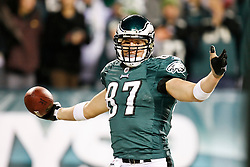 Philadelphia Eagles tight end Brent Celek #87 reacts after scoring a touchdown during the NFL game between the Denver Broncos and the Philadelphia Eagles on December 27th 2009. The Eagles won 30-27 at Lincoln Financial Field in Philadelphia, Pennsylvania. (Photo By Brian Garfinkel)