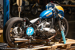 Lolo's Bombinette BMW drag racer built by Sea here at the Sultans of Sprint display at the Intermot International Motorcycle Fair. Cologne, Germany. Saturday October 6, 2018. Photography ©2018 Michael Lichter.