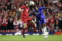 Fotball<br /> Foto: Dppi/Digitalsport<br /> NORWAY ONLY<br /> <br /> CHAMPIONS LEAGUE 2004/2005<br /> 1/2 FINAL - 2ND LEG<br /> <br /> LIVERPOOL FC v CHELSEA FC<br /> 03/05/2005<br /> <br /> SAMI HYYPIA (LIV) / DIDIER DROGBA (CHE)