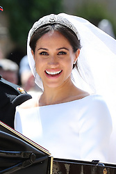 Meghan Markle leaves St George's Chapel at Windsor Castle after her wedding to Prince Harry