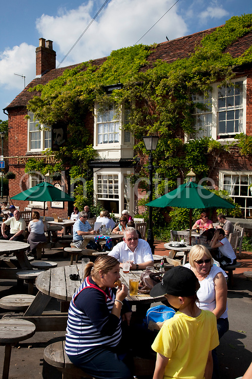 The Pen and Parchment pub in Stratford upon Avon, a small market town in the county of Warwickshire in central England. The town is a popular tourist destination owing to its status as birthplace of the playwright and poet William Shakespeare, receiving about three million visitors a year from all over the world.