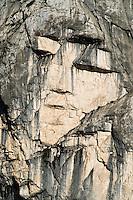 """face"" in the wall of mount Prisojnik, rock formation ""Ajdovska deklica""<br /> seen from Vrsic mountain road<br /> Triglav National Park, Slovenia<br /> June 2009"