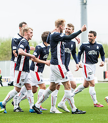 Falkirk's Mark Beck celebrates after scoring their first goal.<br /> Falkirk 3 v 1 Alloa Athletic, Scottish Championship game played today at The Falkirk Stadium.<br /> © Michael Schofield.