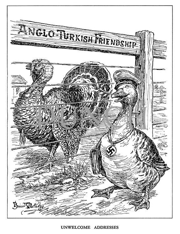 Unwelcome Addresses. (the German goose tries to make friends with Turkey on the other side of Anglo-Turkish Friendship)