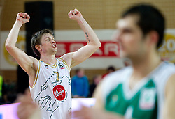 Vladimer Boisa of Olimpija celebrates after the basketball match between KK Union Olimpija and KK Krka in 3rd Quarterfinal of Spar Slovenian Cup, on February 11, 2011 in Sportna dvorana Poden, Skofja Loka, Slovenia. Union Olimpija defeated Krka 122-113 after 3-overtimes. (Photo By Vid Ponikvar / Sportida.com)