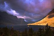 Rainbow over Wild Goose Island, Glacier National Park.