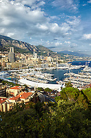 View of Monte Carlo, the Port of Hercules, and the Mediterranean Sea taken from the Princes Palace, Monaco France (Vertical).