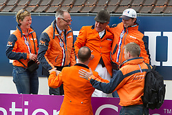 Team Netherlands : Voorn Albert and Vincent (NED), Ehrens Rob (NED), Thijssen Leon (NED)<br /> FEI Nations Cup La Baule 2012<br /> © Dirk Caremans