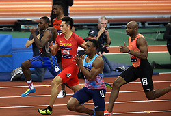 NEW YORK, Feb. 4, 2018  Xie Zhenye(3rd L) of China competes during the Joe Yancey Men's 60m of the 111th NYRR Millrose Games in New York, the United States on Feb. 3, 2018. Xie Zhenye won the third place by 6.588 seconds. (Credit Image: © Qin Lang/Xinhua via ZUMA Wire)