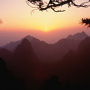 Yellow mountains at sunrise, China.